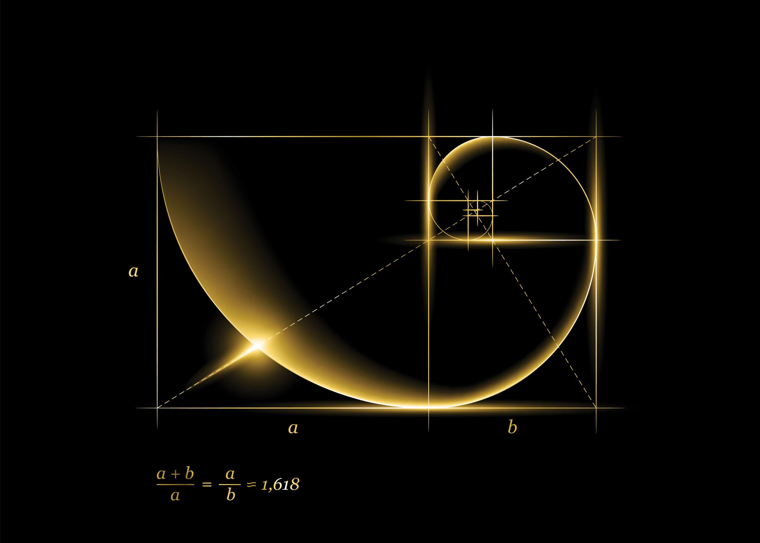 Det gylne snitt illustrasjon matematikk